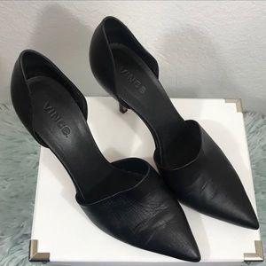 Vince Claire D'Orsay Pump Black Leather Heels 9.5